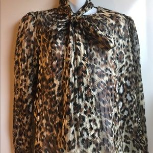 ADRIANNA PAPELL SILK ANIMAL PRINT BLOUSE SIZE 8